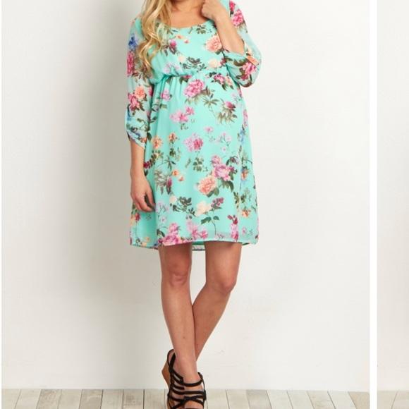 Pink Blush mint floral maternity dress. M 5b9b38be04e33d027a3cf1ac cbd5dd802